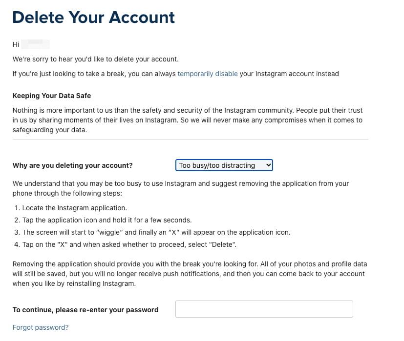 Instagram Delete Account