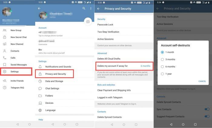 Auto Delete Telegram Account Permanently