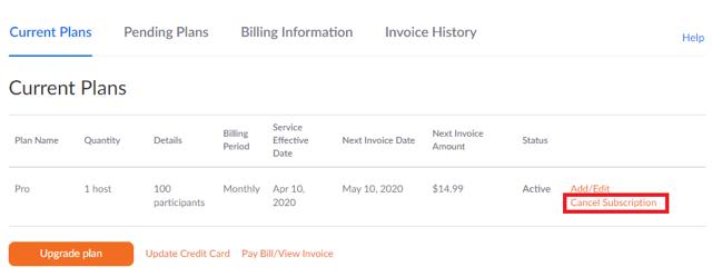 cancel Zoom subscription billing